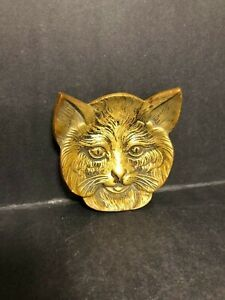 Art Deco Antique C 1910 Solid Bronze Brass Footed Cat Face Pin Change Dish Tray