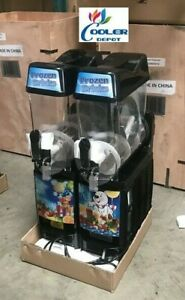 New 2 Tank 12l Margarita Frozen Cocktail Maker Slushie Machine Slush Puppie Icee