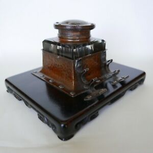 Shreve Co Arts Crafts Wrought Copper Sterling And Glass Inkwell Rare
