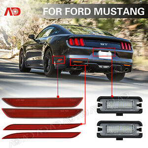 6pcs Led Side Marker Light Bumper Reflector License Plate Lamp For Ford Mustang