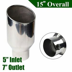 5 7 Inlet Outlet 15 Long Diesel Stainless Steel Bolt On Exhaust Tip Silver