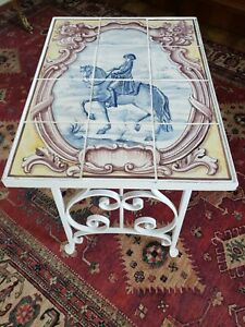 Vintage French Wrought Iron Painted Tile Table France Mid Century French Country
