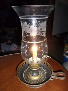 French Electric Toleware Chamberstick W Etched Glass Pansy Shade Brass Collar