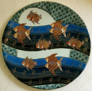 Cloisonne Fish Plate Chinese Angel Fish Ceramic Scales Fins Seaweed Gold Trim