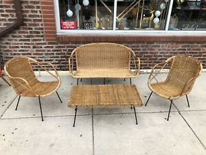 1960 70s Vintage Bamboo Wicker Chair Coffee Table Loveseat Patio Set