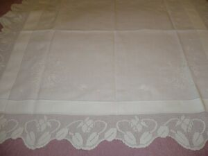 Amazing Tulip Butterfly Design Irish Crochet Lace Linen Tablecloth 48 X 47