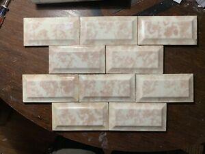 10 Pc Trent Antique Ceramic Art Tiles Subway Beveled 3x6 C1900 Creme Mauve