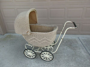 Antique Baby Carriage Stroller Wicker Wood Wheels Vintage Buggy
