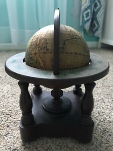 Vintage Zodiac Plastic World Globe With Stand Table