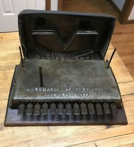 Antique Vintage Automatic Account File Machine 1892 Metal Advertising Industrial