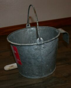 Vintage Galvanized Calf Nursing Milk Bucket Pail 8qt Rubber Nipple Fence Bracket