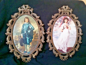 Set Of 2 Vintage Fr2 Bis Oval Metal Picture Frames Made In Italy