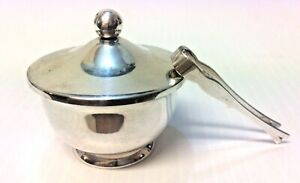 Signed Web Sterling Silver Covered Saccharine Footed Bowl With Tongs