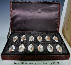 17 Old Chinese Wucai Porcelain 12 Classical Beauty Girl Statue Snuff Bottle Set
