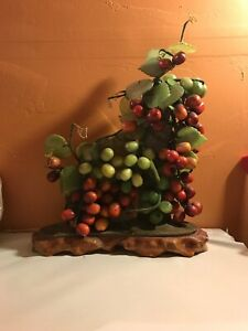 Antique 16 High Red Green Grape Vine Sculpture Amazingly Natural Jade Stone