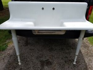 Vintage Porcelain Coated Cast Iron Kitchen Farm Sink W Adjustable Legs Antique