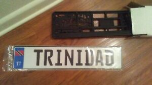 Trinidad Tobago Euro License Plate With Frame And Plate Protector