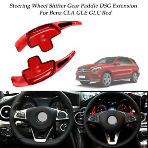 2x Red Aluminum Steering Wheel Shifter Paddle Dsg Extension For Benz Cla Gle Glc