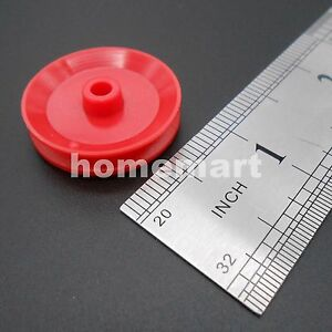 20pcs X Plastic Pulley Wheel Toy Wheels Small Flywheel Dia 29mm A 4mm 3 9mm Red