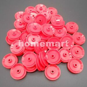 50pcs X Plastic Pulley Wheel Toy Wheels Small Flywheel Dia 29mm A 4mm 3 9mm Red