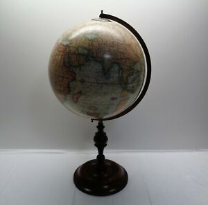 Vintage 12 Old World Globe On Wooden Stand Totals 24 High