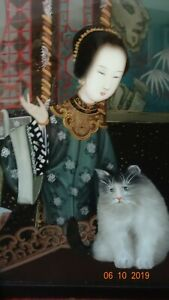 Vintage Chinese Reverse Painting On Glass Ladiy With Cat And A Monster Behind