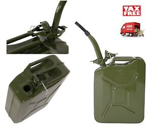 5 Gallon Jerry Can 20l Gas Gasoline Fuel Army Nato Military Metal Tank Steel New