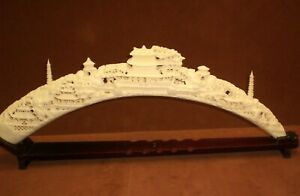Large Vintage Fishbone And Resin Carved Tusk Pagoda Chinese Art 30 X 10 1 2