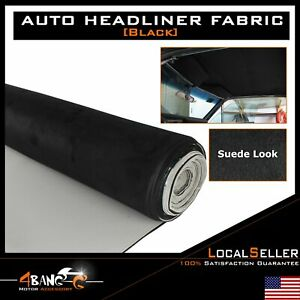 Car Auto Suede Headliner Material Fabric Foam Black Flexible Upholstery 80 X60