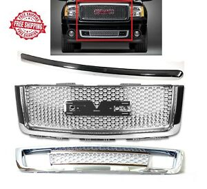 For 2007 2013 Gmc Sierra 1500 Denali Front Hood Molding Upper And Lower Grille