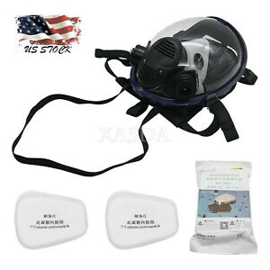 7pcs set Full Face Gas Mask Respirator Mask For Painting Spraying Welding Us