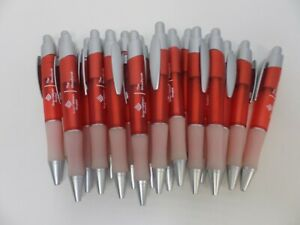 20 Lot Retractable Misprint Ink Pens Thick Red Barrels With Rubber Grip
