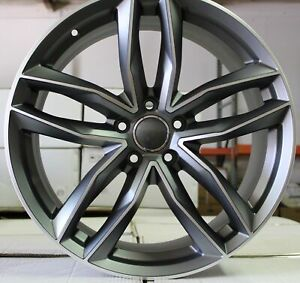 20 Gunmetal Machined Face Audi Rs6 S Line Style Rims Wheels Fits 5x112