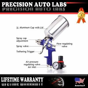 Hvlp 2 5mm Spray Gun Kit Auto Paint Gravity 1l Stainless Steel 3 Knobs Blue Us