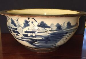 Antique Chinese Export Blue And White Porcelain Bowl 19th Century