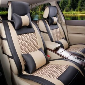 Car Seat Cover W Pillows Set Pu Leather Mesh 5 seats Front rear Black Beige