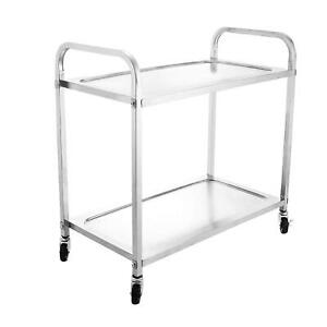 2 Tier Stainless Steel Large Kitchen Cart Utility Cart Rolling Cart Metal 330lbs