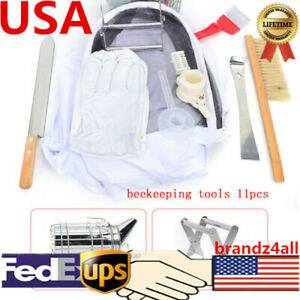 11pc Beekeeping Suit Gloves Bee Hive Scraper Brush Smoker Feeder Holder Tool Kit