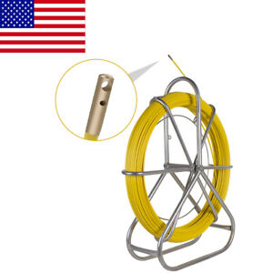 Yellow Fiberglass Wire Cable Rod Duct Rodder Fishtape 6mm 130m Stainless Steel