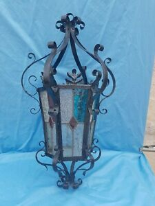 Antique French Old Lantern Large Chandelier Iron And Stained Glass Neo Gothic