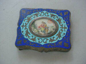 Antique Italian Enameled 800 Silver Compact Courting Romantic Scene 110 Grams