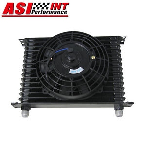 15row 10an Universal Racing Engine Transmission Oil Cooler 7 Electric Fan Kit