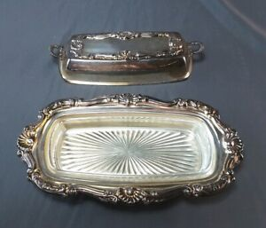 Vintage Bristol Silverplated Covered Butter Dish Glass Insert