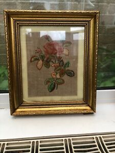 Vintage Hand Embroidered Picture In Beautiful Frame