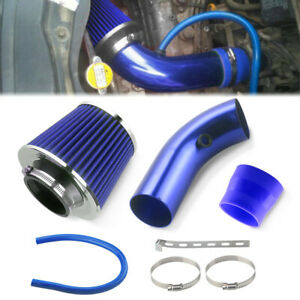 Universal Car 3 76mm Cold Air Filter Intake Feed Turbo Induction Pipe Hose Blue