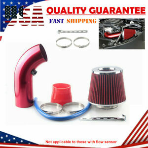 Universal Car 3 Car Cold Air Intake Filter Feed Induction Turbo Pipe Hose Red