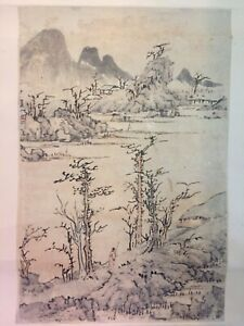 Chinese Ink Painting On Paper Scroll