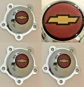 4 Indy Wheel 5 Ear Center Caps For Chevy Torq Torque Thrust 2 1 4 Bow Tie Red G