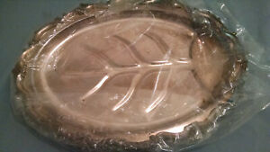 Large Vintage Oval Silver Plated Serving Tray 13 X 19