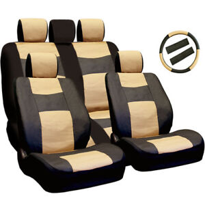 New Pu Leather Car Truck Seat Steering Covers Front Back Set Bt For Jeep
